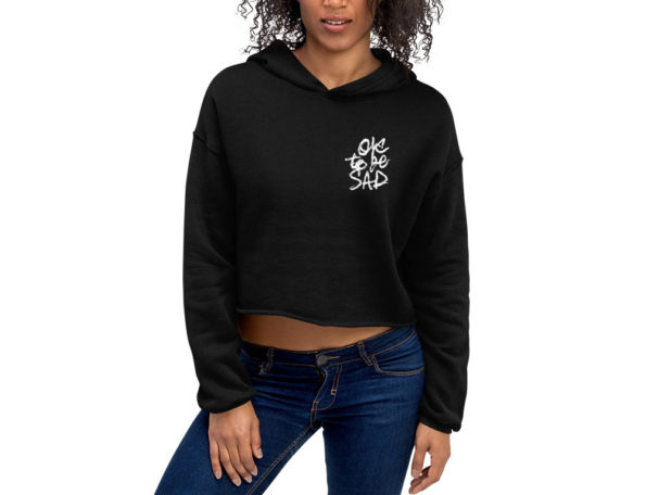 BEING NICE IS COOL – Black Cropped Hoodie - Front on Model