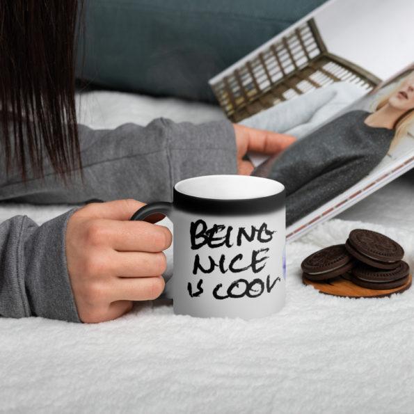 BEING NICE IS COOL - Matte Black Magic Mug - Side A