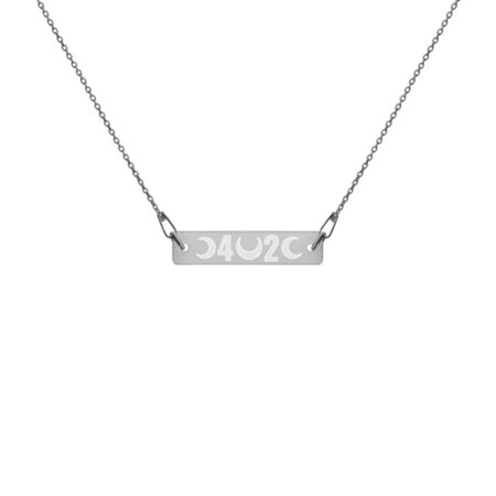 FORTY-TWO - Engraved Black Rhodium Plated Silver Bar Chain Necklace