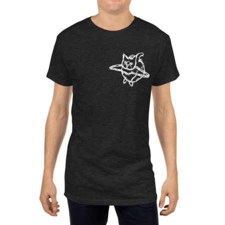 OTBSFW19 - HANG WITH ME - Long Body Charcoal Triblend Urban Tee - Front on Model
