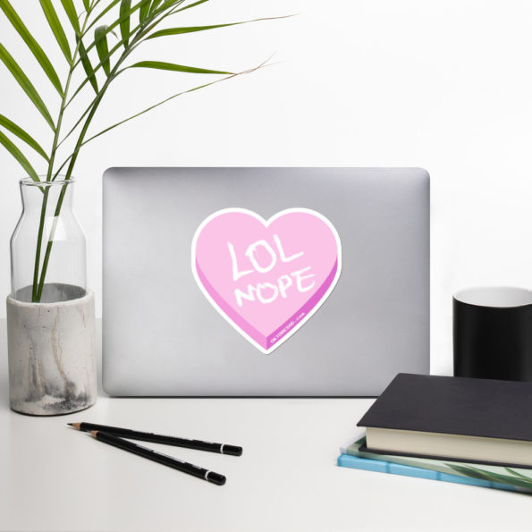 Large LOL NOPE Bubble-free Sticker with a vase