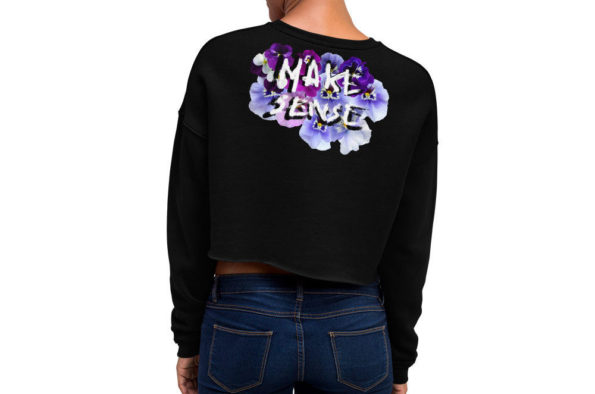 MAKE SENSE - Black Cropped Sweatshirt - Back on Model