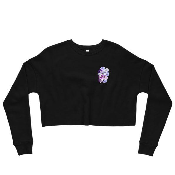 MAKE SENSE - Black Cropped Sweatshirt - Front