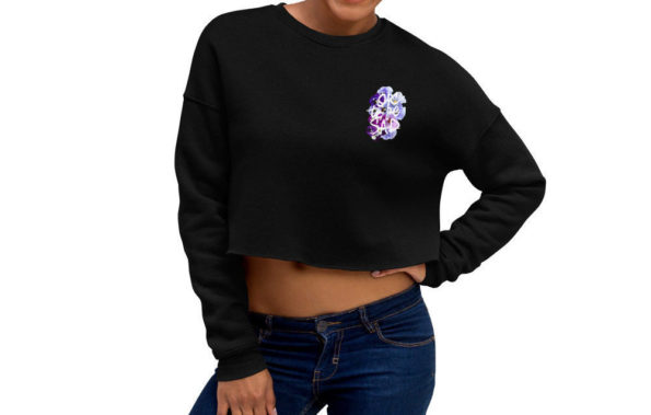 MAKE SENSE - Black Cropped Sweatshirt - Front on Model