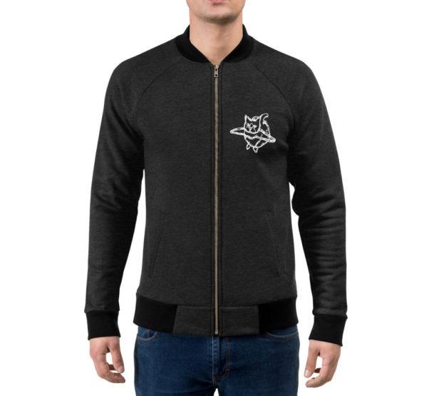 MAKE SENSE - Black Heather Bomber Sweatshirt - Front on Model