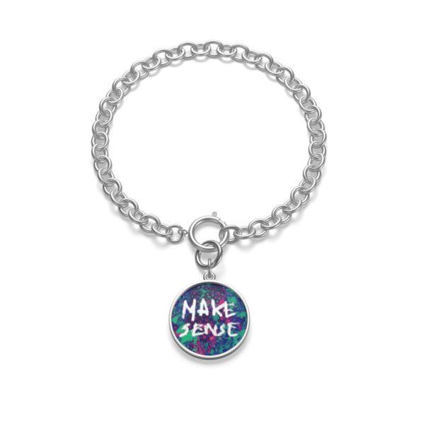 MAKE SENSE - Chunky Silver Chain Bracelet - Flat Lay