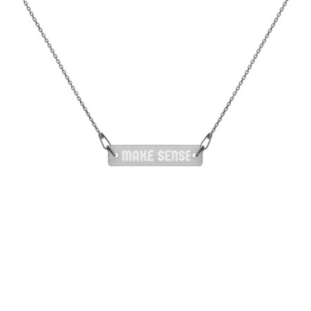 MAKE SENSE - Engraved Black Rhodium Plated Silver Bar Chain Necklace