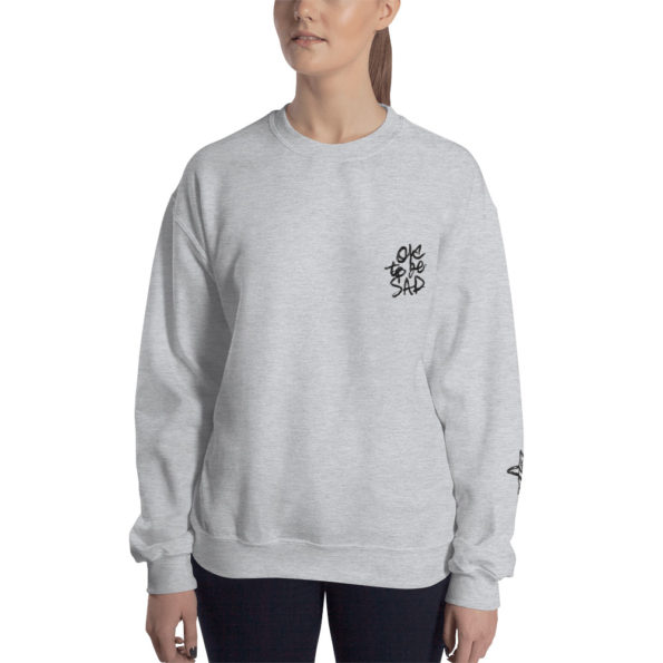 MAKE SENSE - Grey triblend Sweatshirt - Front on Model