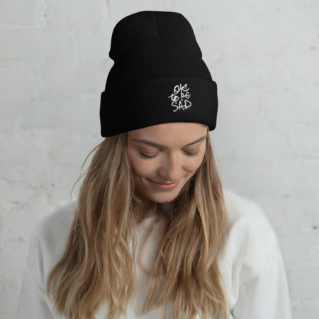 Model wearing OKTOBESAD 3D Puff Embroidery Cuffed Beanie
