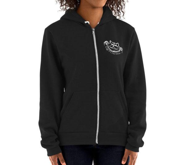 SAKE MENSE - Black AA zipper hoodie - Front on Model