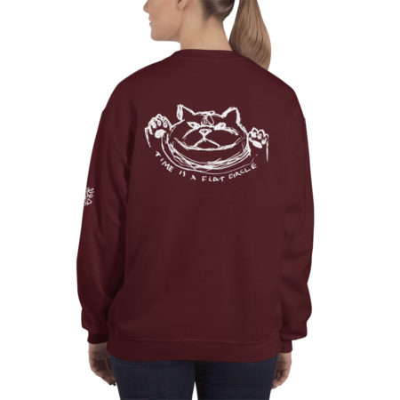 TIME IS A FLAT CIRCLE - Maroon Sweatshirt - Back