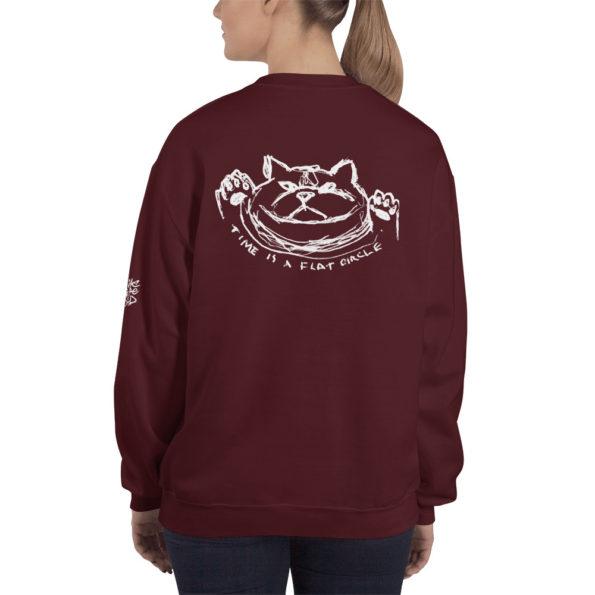 TIME IS A FLAT CIRCLE - Maroon Sweatshirt - Back